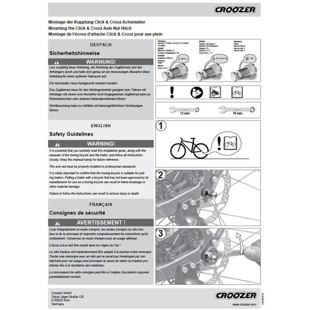 Croozer Click & Crooz Achsmutterkupplung 3 Ringe 3/8x26