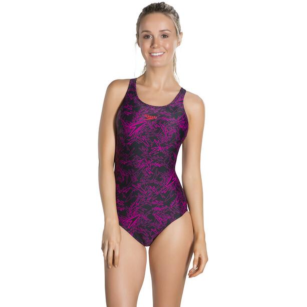 speedo Boom Allover Muscleback Badeanzug Damen black/electric pink