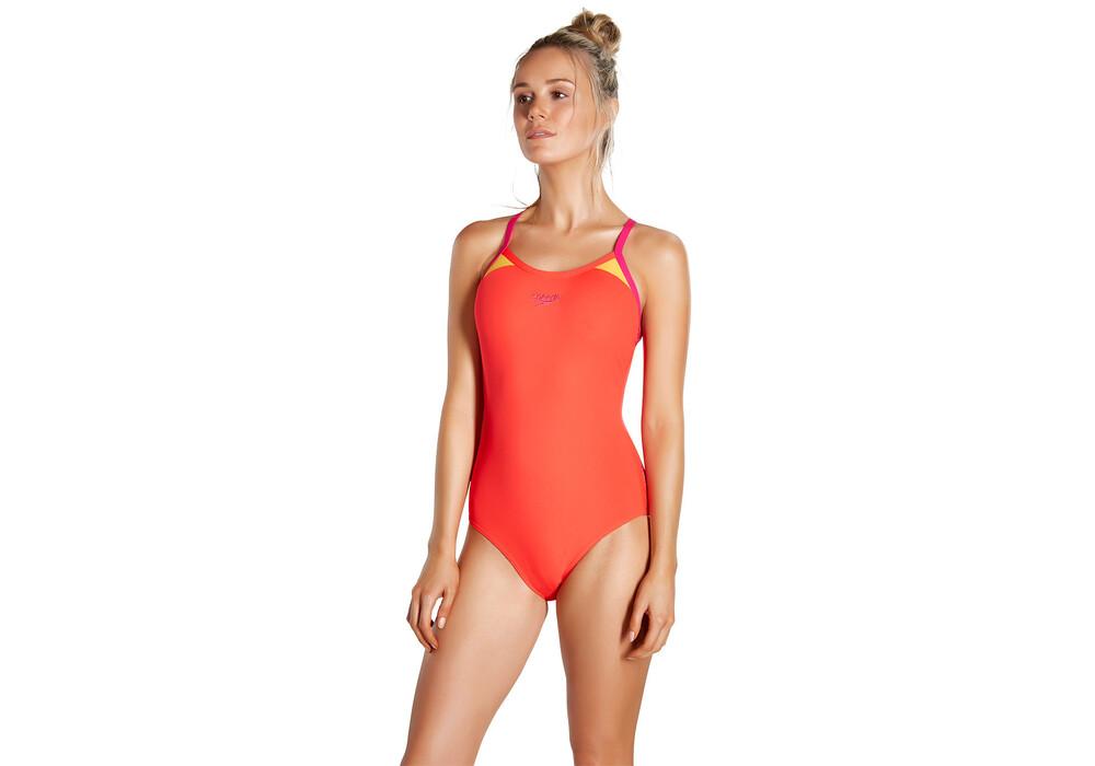 speedo splice thinstrape maillot de bain femme rouge sur. Black Bedroom Furniture Sets. Home Design Ideas