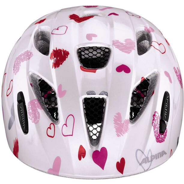 Alpina Ximo Helm Kinder white hearts