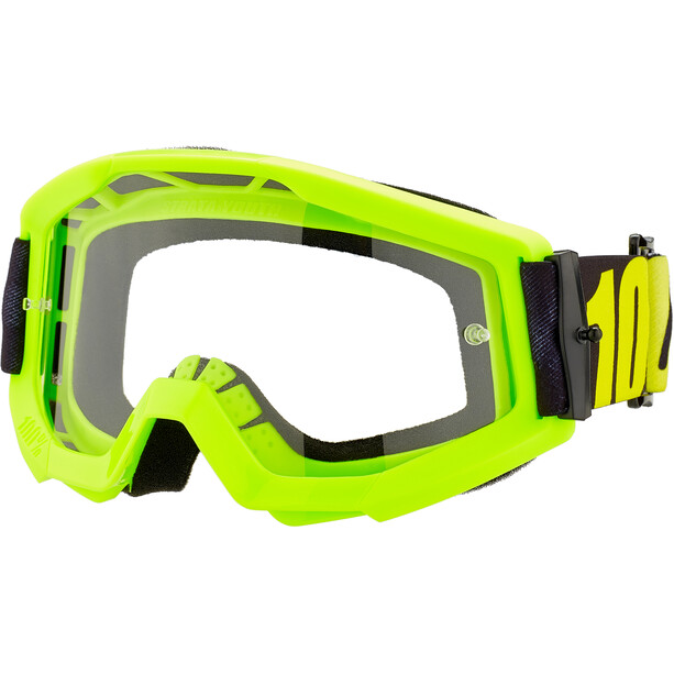100% Strata Anti Fog Clear Goggles Jugend neon yellow