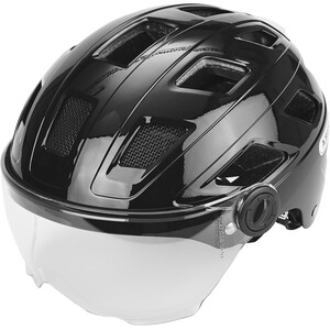 ABUS Hyban+ Helm black, clear visor black, clear visor