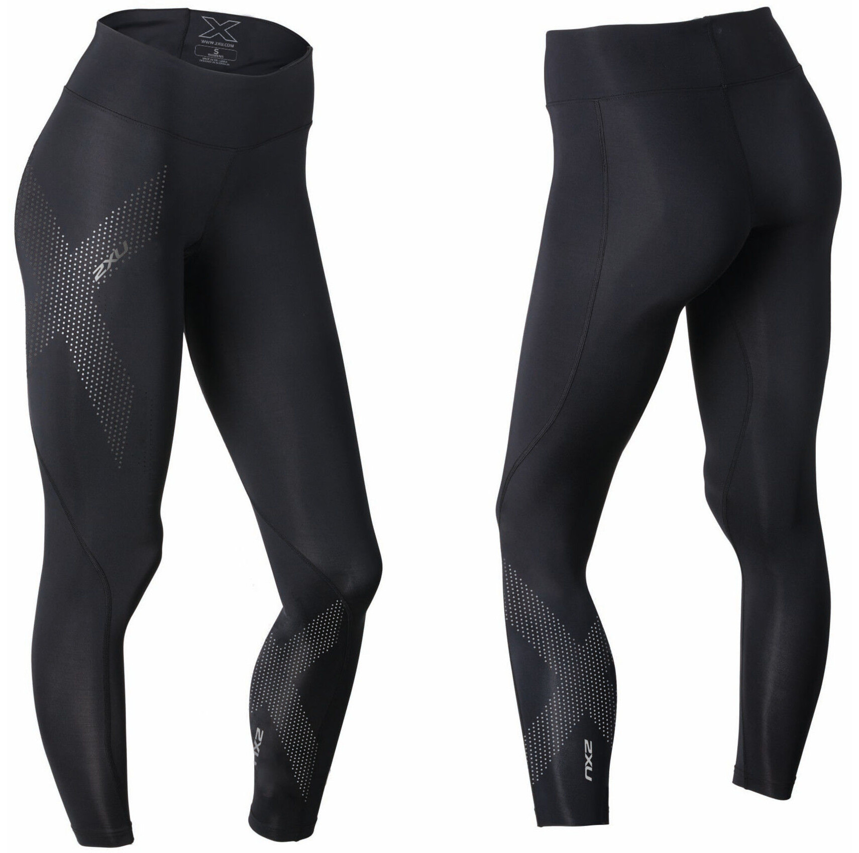 2xu mid rise compression tights long women black dotted reflective logo. Black Bedroom Furniture Sets. Home Design Ideas