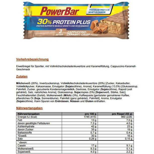 PowerBar ProteinPlus 30% Bar Box 15x55g Cappuccino Karamell Crisp