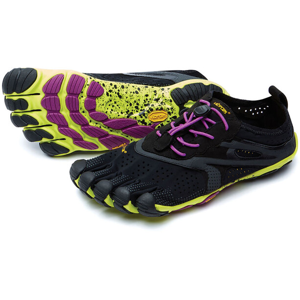 FiveFingers V-Run Shoes Dam black/yellow/purple