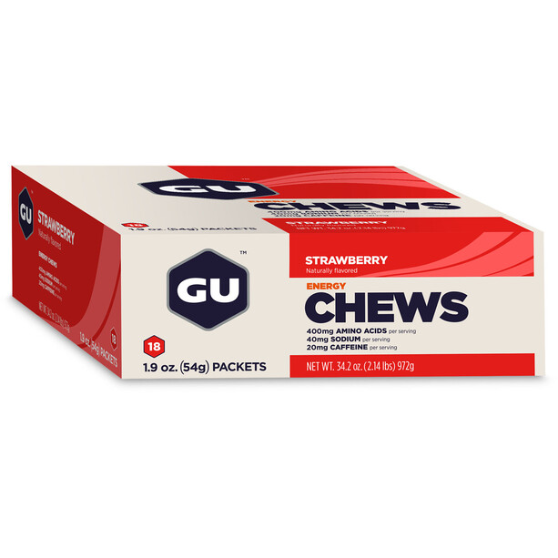 GU Energy Chews Box 18 x 54g Strawberry mit Koffein