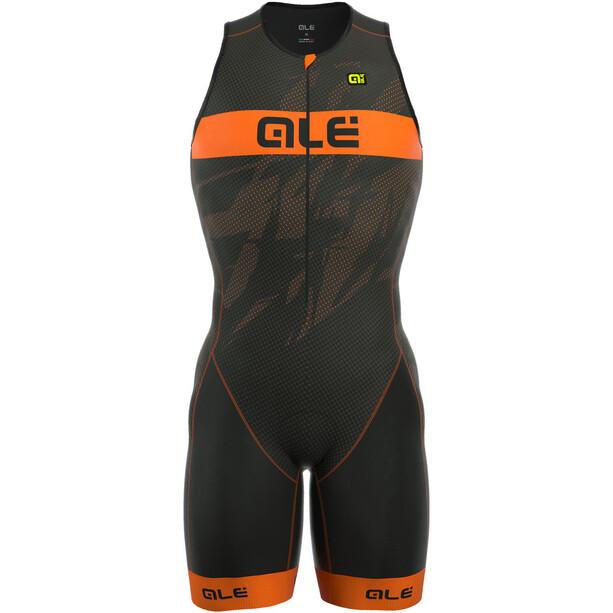 Alé Cycling Triathlon Long Record Tri Body Front Zipper Herren black-fluo orange