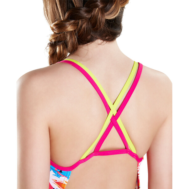 speedo Solar Pavola Double Crossback Damen Lime Punch/Electric Pink/Lava Red