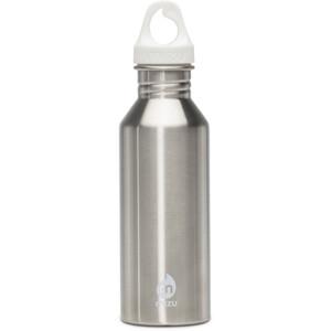 MIZU M5 Flasche with White Print & White Loop Cap 500ml silber silber