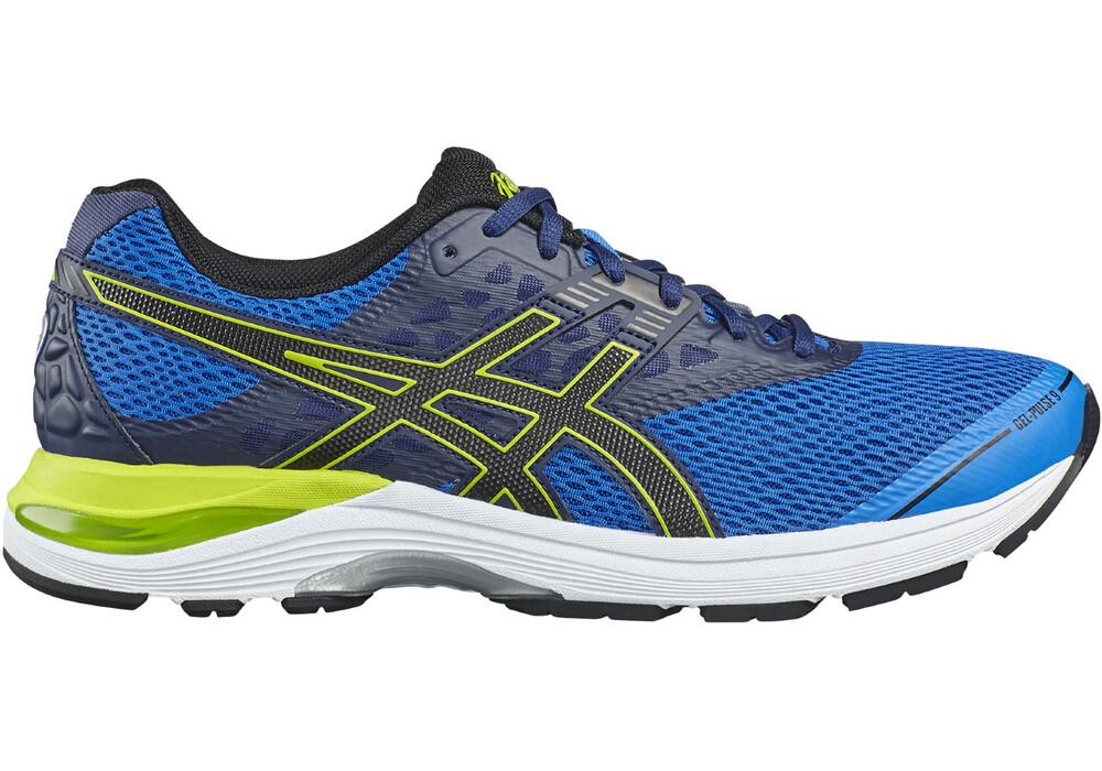 asics gel pulse 9 zapatillas para correr amarillo azul. Black Bedroom Furniture Sets. Home Design Ideas