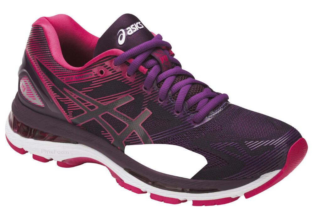 asics gel nimbus 19 chaussures de running femme rose violet sur. Black Bedroom Furniture Sets. Home Design Ideas
