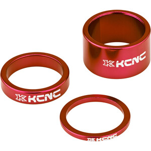 """KCNC Headset Spacer 1 1/8"""" 3/8/20mm, rood rood"""