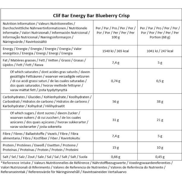 CLIF Bar Energy Riegel Box 12 x 68g Blaubeer Crisp