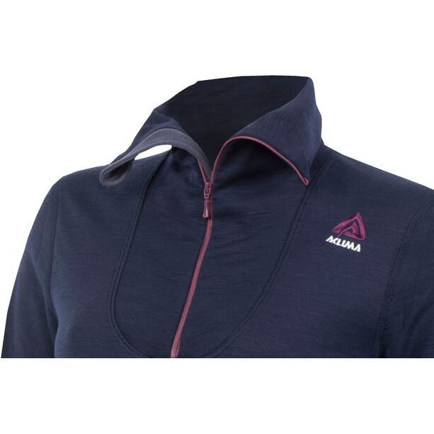 Aclima DoubleWool Polo Zip Shirt Dam peacoat/blackberry wine/periscope