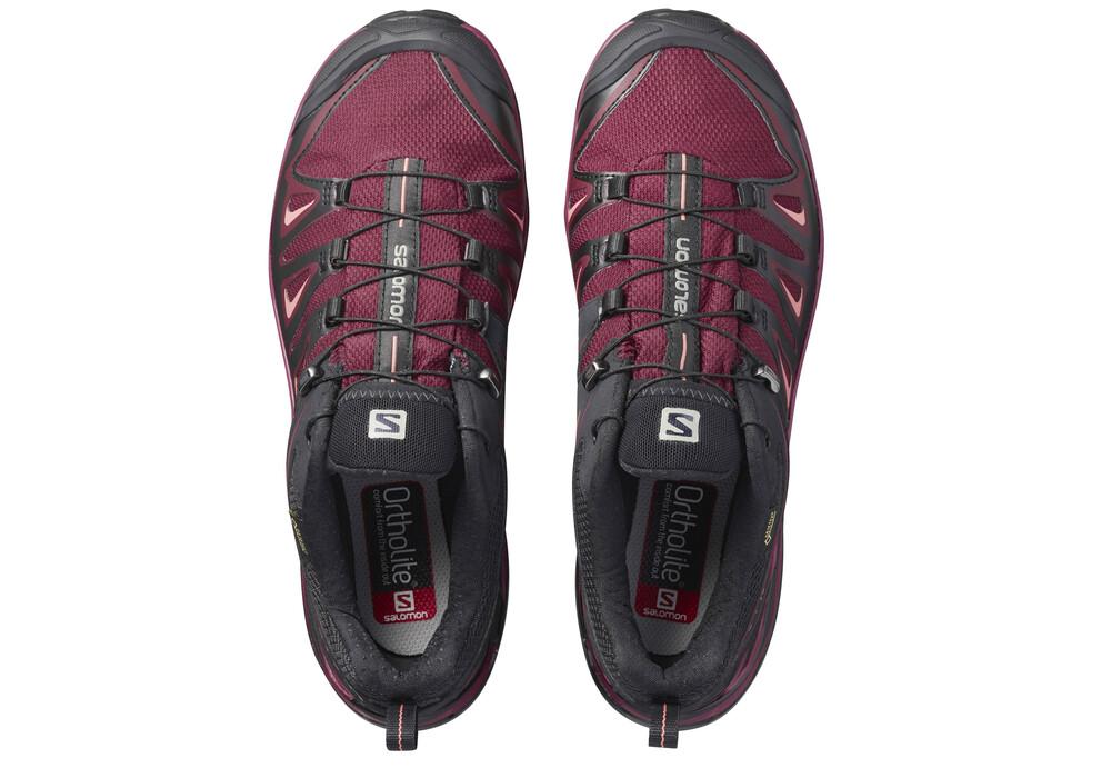 salomon x ultra 3 gtx chaussures femme rouge noir sur. Black Bedroom Furniture Sets. Home Design Ideas