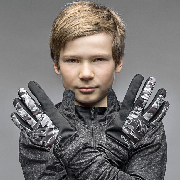 GripGrab Rebel Windproof Winterhandschuhe Kinder black/grey