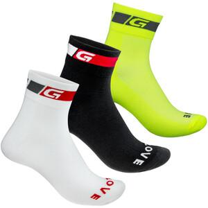 GripGrab Tricolore Vanlige kutte sokker 3 stk. Svart/Gul Svart/Gul