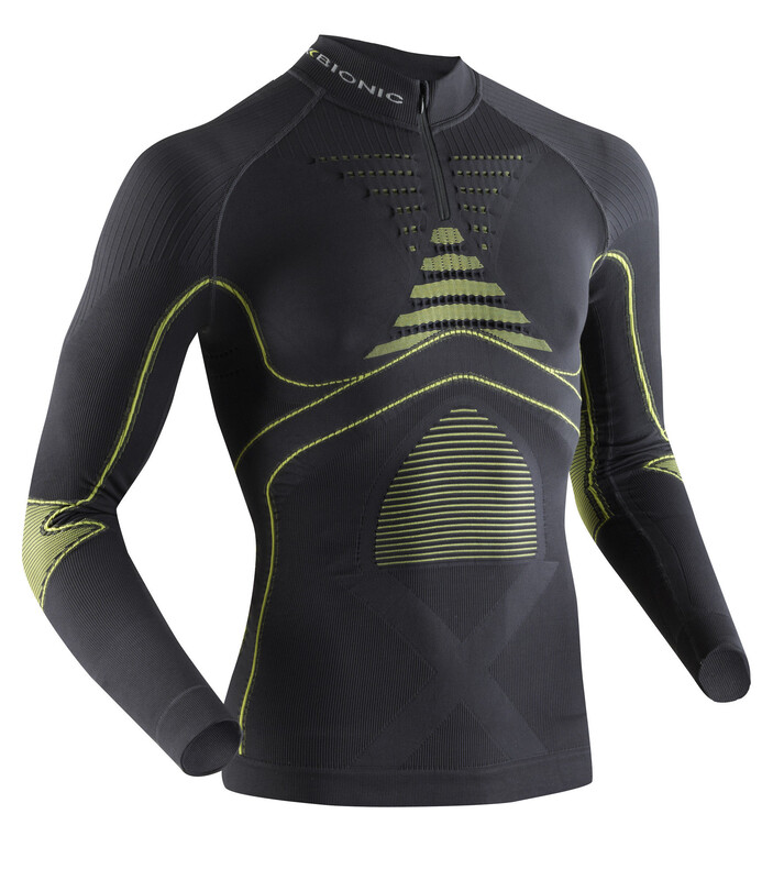 X-Bionic Accumulator Evo Zip Up Long Sleeve Shirt Men Charcoal/Yellow XXL 2018 Kompressionsshirts