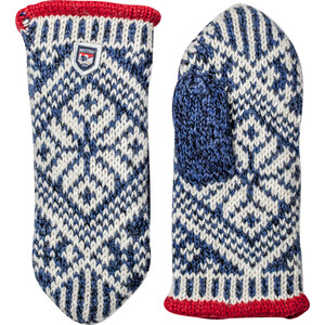 Hestra Nordic Wool Mittens mellanblå/offwhite mellanblå/offwhite