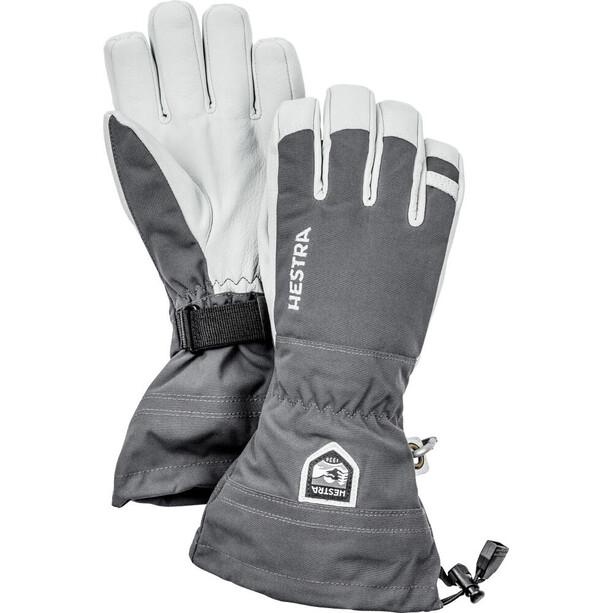 Hestra Army Leather Heli Ski 5 Finger Handschuhe grey