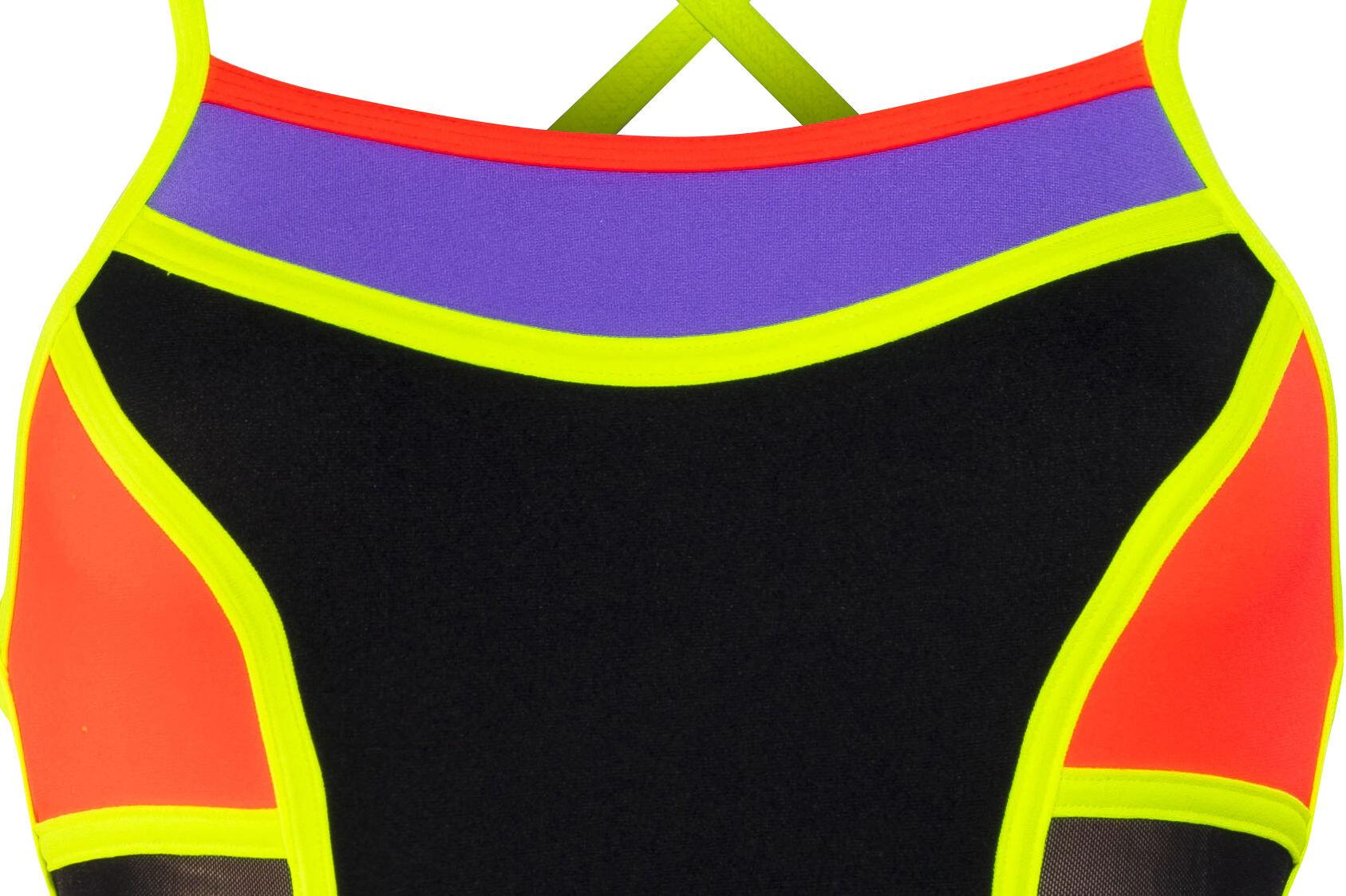 Funkita colour block one piece costume da bagno donna arancione nero su - Costume da bagno arancione ...