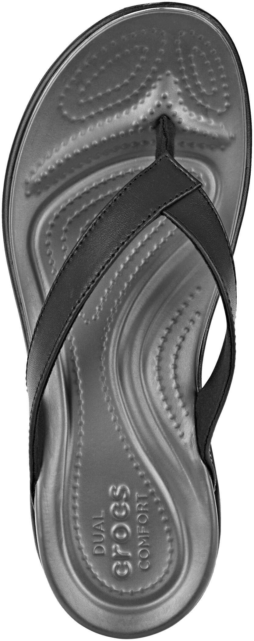 crocs Zehensteg Capri V Flip Women Schwarz Graphite Croslite Normal Damen