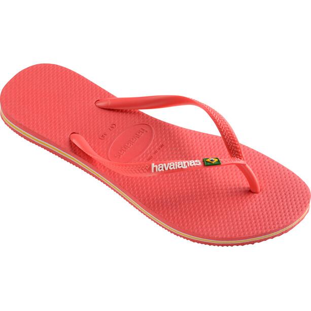 havaianas Slim Brasil Logo Flips Damen coralnew