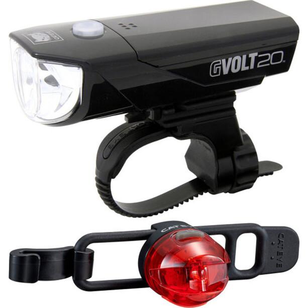 CatEye GVOLT20RC HL-EL350GRC + LOOP2G SL-LD140GRC Beleuchtungs Set schwarz/rot