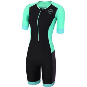 Zone3 Aquaflo+ Kurzarm Trisuit Damen black/grey/mint black/grey/mint