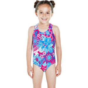 speedo Fantasy Flowers Essential All Over Badeanzug Kinder electric pink/neon blue/white electric pink/neon blue/white