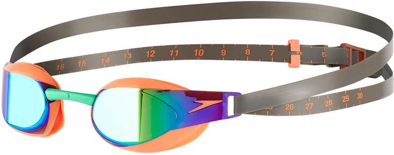 Fastskin Elite Mirror Goggle Fluo Orange/Lawn Green 2018 Schwimmbrillen