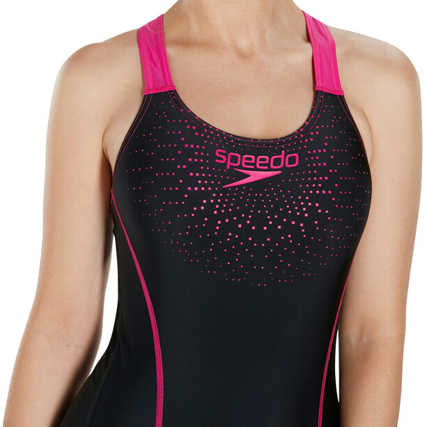 speedo Gala Logo Medalist Badeanzug Damen black/electric pink