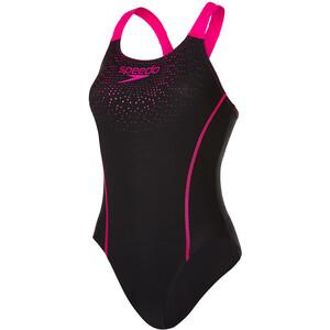 speedo Gala Logo Medalist Badeanzug Damen black/electric pink black/electric pink