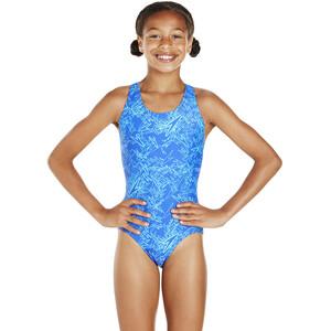 speedo Boom Allover Splashback Badeanzug Mädchen amparo blue/turquoise amparo blue/turquoise