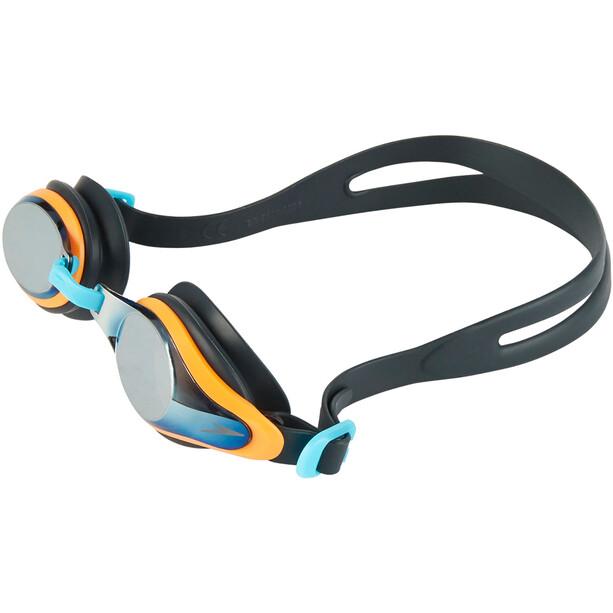speedo Mariner Supreme Mirror Goggles Kinder oxid grey/jaffa/titanium