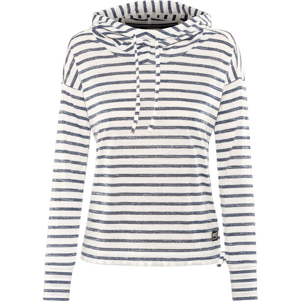 super.natural Funnel Hoodie Printed Damen fresh white/fine stripe print