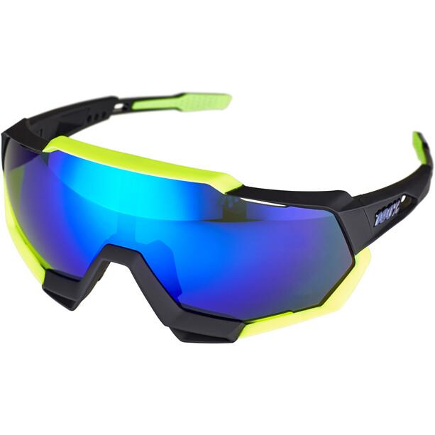 100% Speedtrap Brille polished black/matte neon yellow | mirror