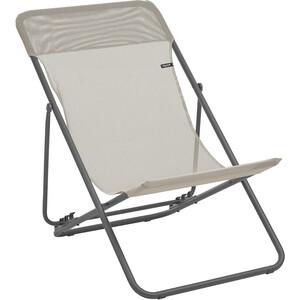 Lafuma Mobilier Maxi Transat Bain de soleil avec Cannage Phifertex, blanc/gris blanc/gris