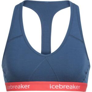 Icebreaker Sprite Racerback BH Damen prussian blue/poppy red prussian blue/poppy red