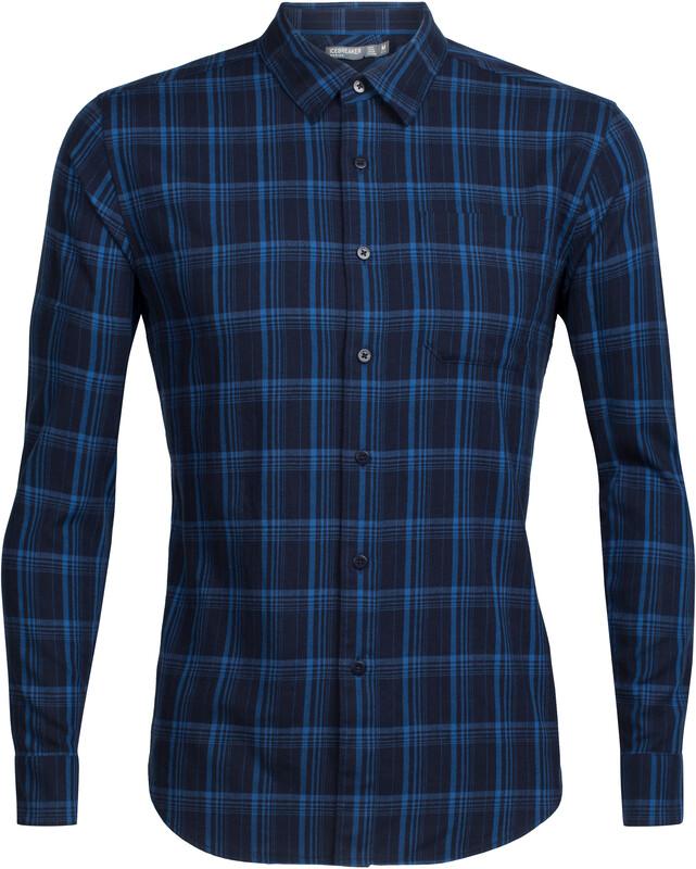 Icebreaker Compass Flannel LS Shirt Men midnight navy/sea blue/plaid S 2018 Langarm Hemden
