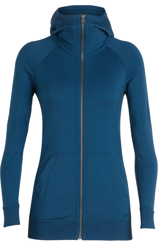 Icebreaker W's Crush LS Zip Hood prussian blue M 2018 Yoga klær