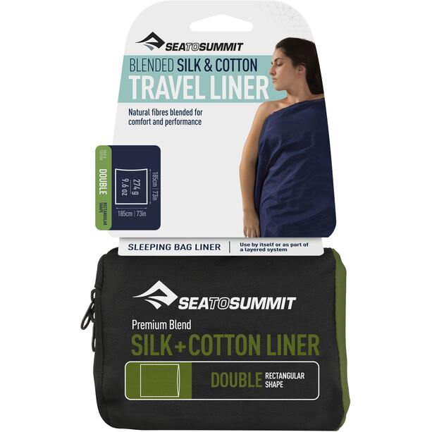Sea to Summit Silk/Cotton Travel liner Dobbel rektangulær Blå