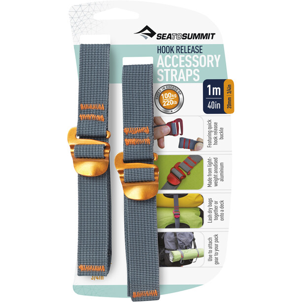 Sea to Summit Tie Down Accessory Strap with Hook 20mm 1m yellow