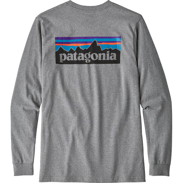 Patagonia P-6 Logo Langarm Responsibili-Tee Herren gravel heather