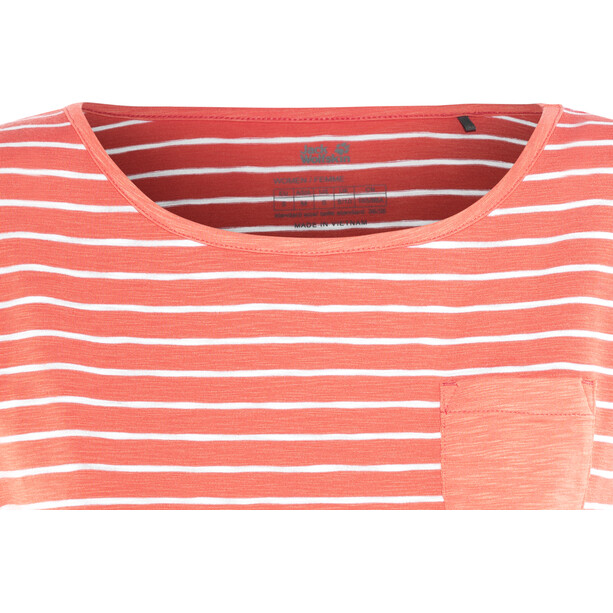 Jack Wolfskin Travel Striped T-Shirt Damen hot coral stripes