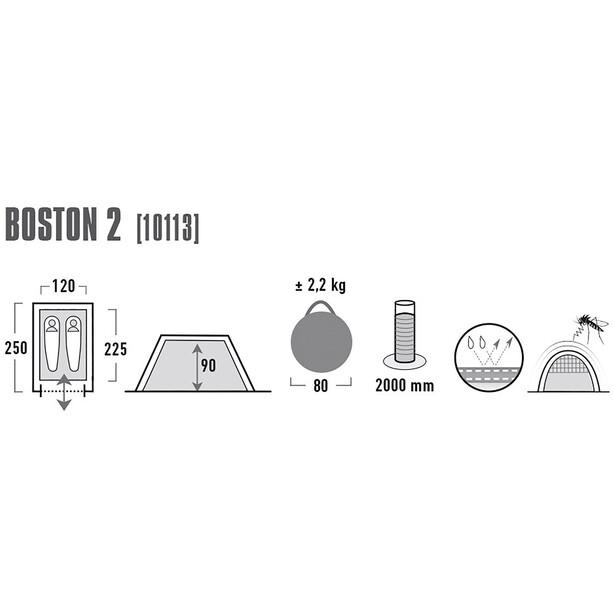 High Peak Boston 2 Zelt aluminium/dark grey