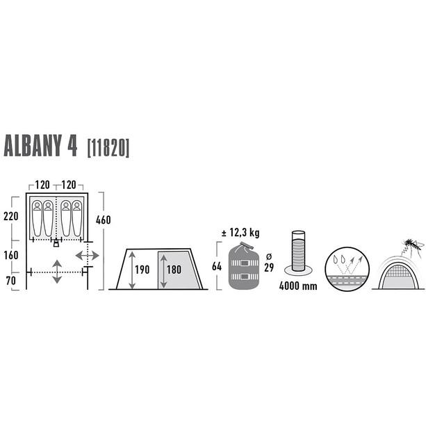 High Peak Albany 4 Zelt grey/blue