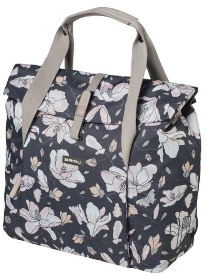 Basil Tasche City Bag Doppel Packtasche Fahrrad Shopper Carry Magnolia Blumen