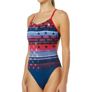 TYR Liberty Cutoutfit Badeanzug Damen red/white/blue red/white/blue