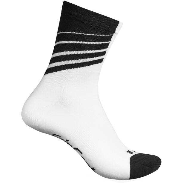GripGrab Racing Stripes Socken white/black